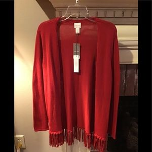 CHICO'S NEW W/tags RED FRINGE CARDIGAN Size 10/12